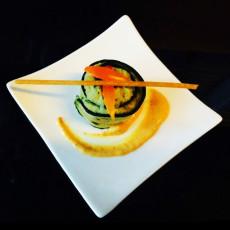 Zucchina con humus di ceci e crema di fave e cocco- menu vegano - max&kitchen catering Milano